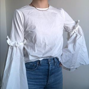 ASOS White Blouse with Super Puffy Sleeves